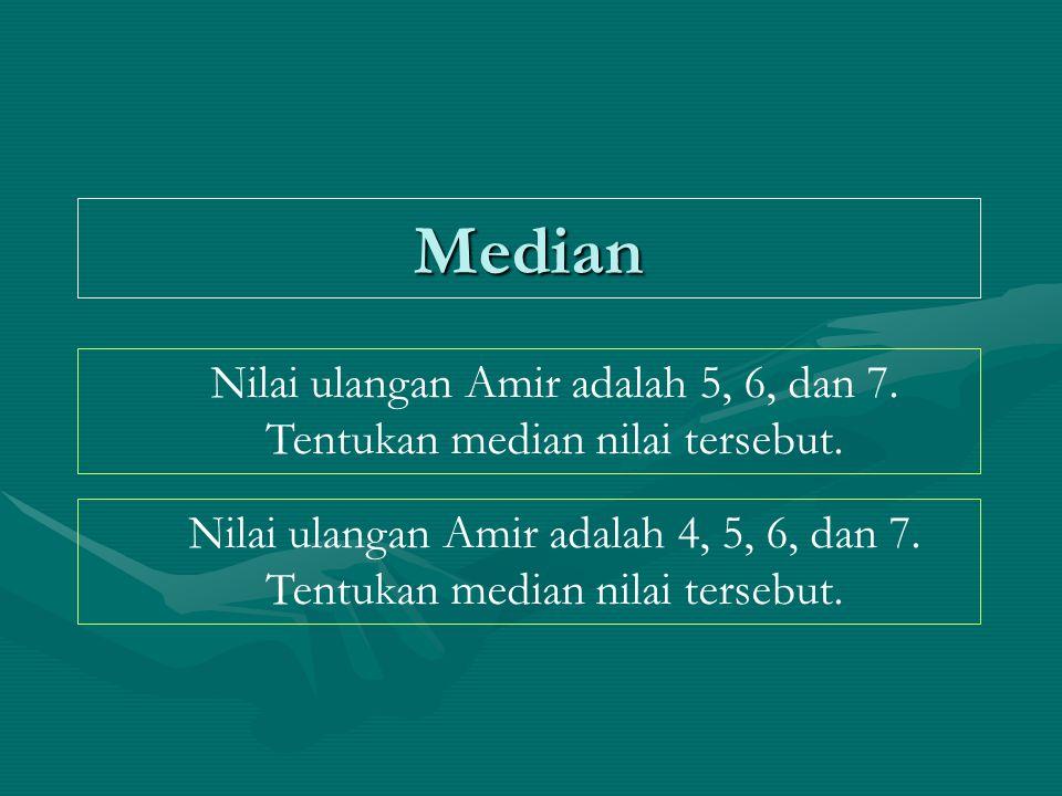 Median Nilai ulangan Amir adalah 5, 6, dan 7. Tentukan median nilai tersebut. Nilai ulangan Amir adalah 4, 5, 6, dan 7. Tentukan median nilai tersebut