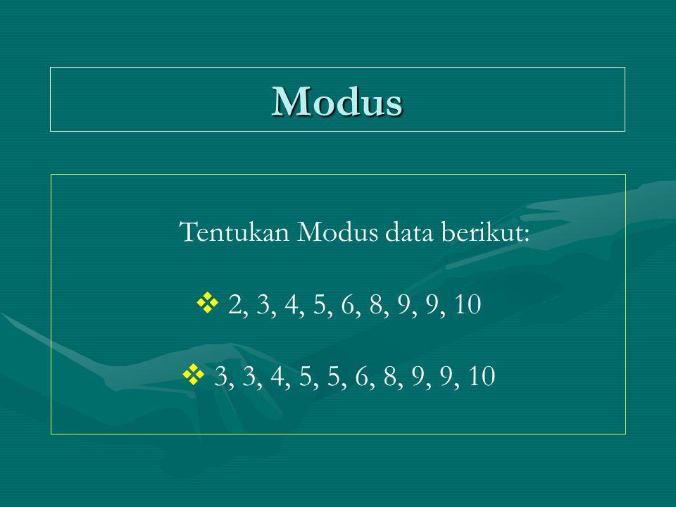 Modus Tentukan Modus data berikut:  2, 3, 4, 5, 6, 8, 9, 9, 10  3, 3, 4, 5, 5, 6, 8, 9, 9, 10