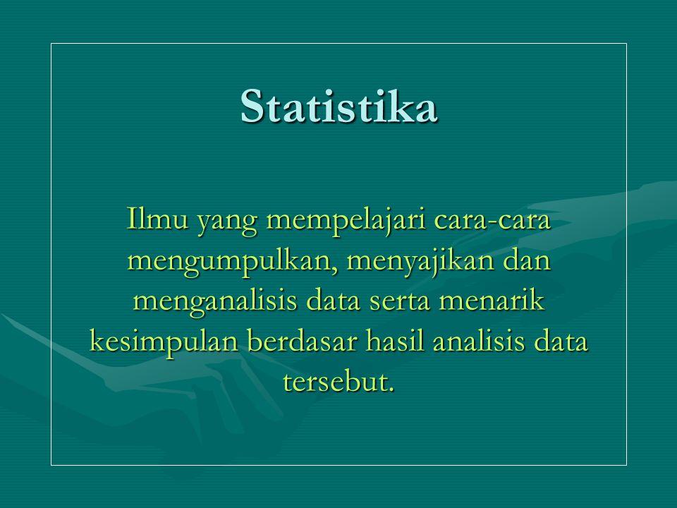 Statistika Ilmu yang mempelajari cara-cara mengumpulkan, menyajikan dan menganalisis data serta menarik kesimpulan berdasar hasil analisis data terseb