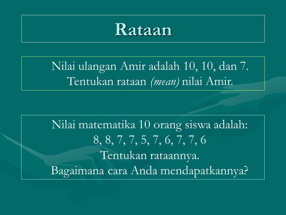 Rataan Nilai ulangan Amir adalah 10, 10, dan 7. Tentukan rataan (mean) nilai Amir. Nilai matematika 10 orang siswa adalah: 8, 8, 7, 7, 5, 7, 6, 7, 7,