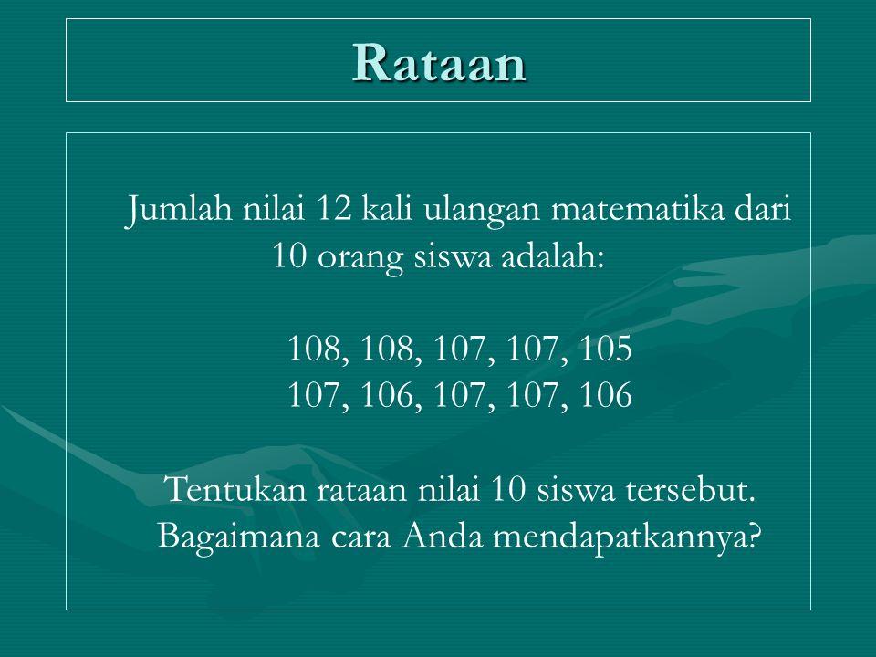 Rataan Jumlah nilai 12 kali ulangan matematika dari 10 orang siswa adalah: 108, 108, 107, 107, 105 107, 106, 107, 107, 106 Tentukan rataan nilai 10 si
