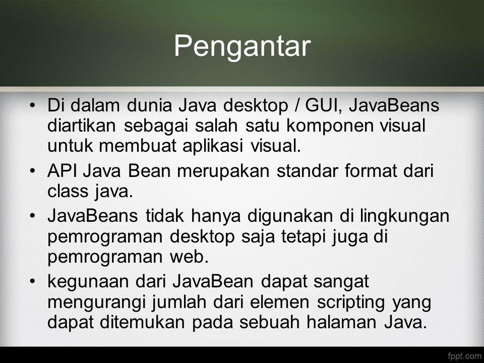 Pengantar Di dalam dunia Java desktop / GUI, JavaBeans diartikan sebagai salah satu komponen visual untuk membuat aplikasi visual. API Java Bean merup