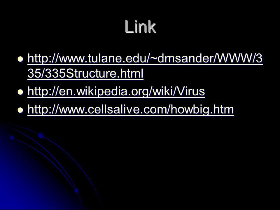 Link http://www.tulane.edu/~dmsander/WWW/3 35/335Structure.html http://www.tulane.edu/~dmsander/WWW/3 35/335Structure.html http://www.tulane.edu/~dmsander/WWW/3 35/335Structure.html http://www.tulane.edu/~dmsander/WWW/3 35/335Structure.html http://en.wikipedia.org/wiki/Virus http://en.wikipedia.org/wiki/Virus http://en.wikipedia.org/wiki/Virus http://www.cellsalive.com/howbig.htm http://www.cellsalive.com/howbig.htm http://www.cellsalive.com/howbig.htm