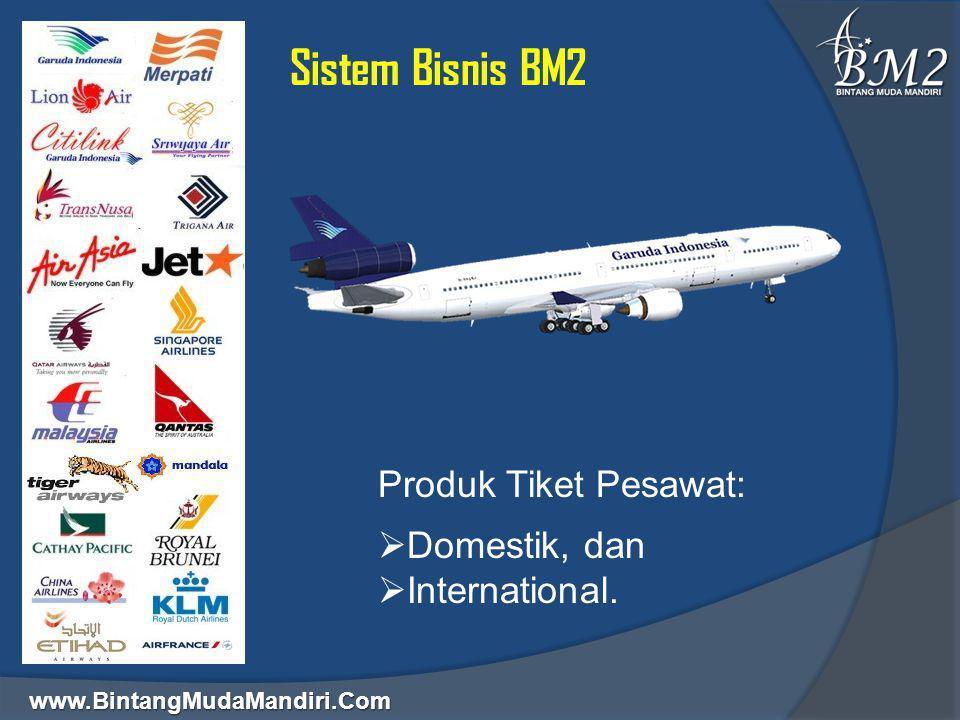 www.BintangMudaMandiri.Com Sistem Bisnis BM2 Produk Tiket Pesawat:  Domestik, dan  International.