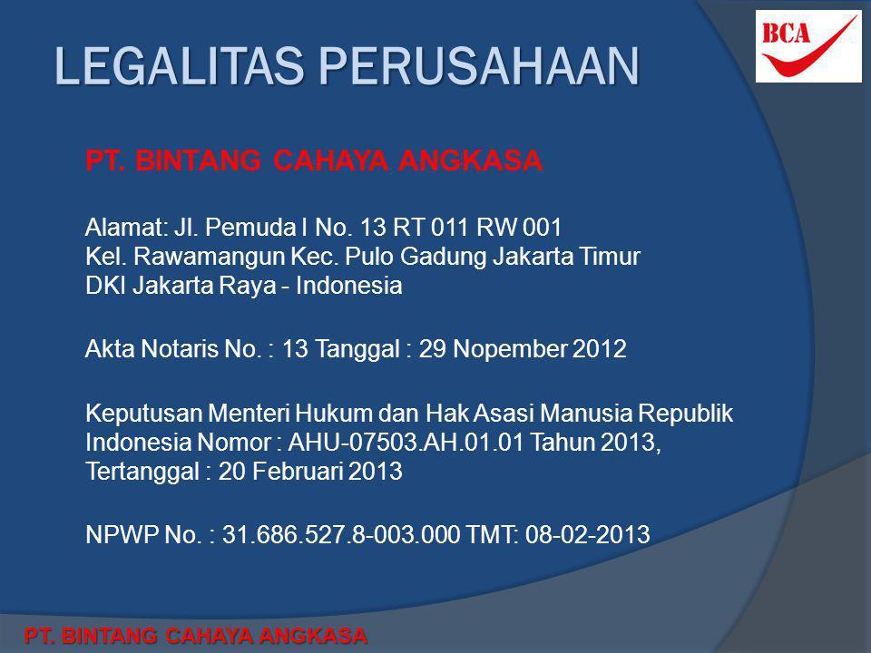 LEGALITAS PERUSAHAAN  PT. BINTANG CAHAYA ANGKASA  Alamat: Jl. Pemuda I No. 13 RT 011 RW 001 Kel. Rawamangun Kec. Pulo Gadung Jakarta Timur DKI Jakar