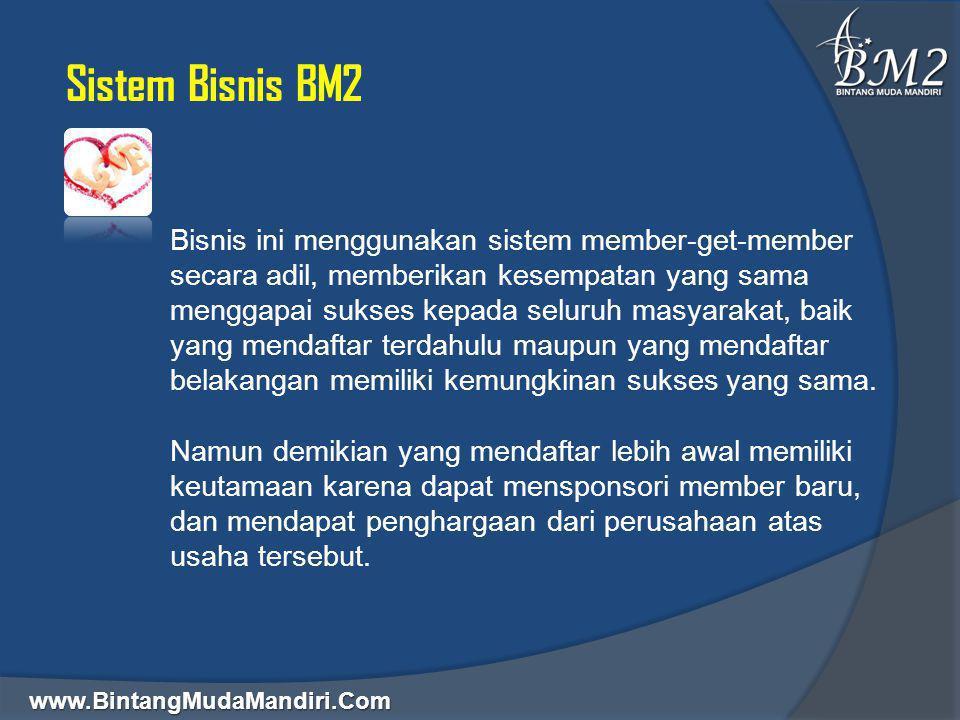 www.BintangMudaMandiri.Com Sistem Bisnis BM2 Ada 3 jenis status member yaitu: Member Free = Gratis Biaya Pendaftaran, walaupun gratis mereka sudah diberikan hak bertransaksi dan komisi atas setiap transaksi yang dilakukan.