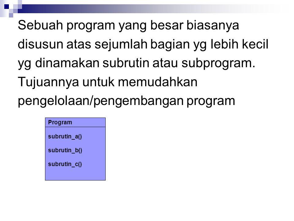 Sebuah program yang besar biasanya disusun atas sejumlah bagian yg lebih kecil yg dinamakan subrutin atau subprogram.