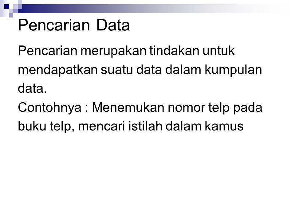 Pencarian merupakan tindakan untuk mendapatkan suatu data dalam kumpulan data.