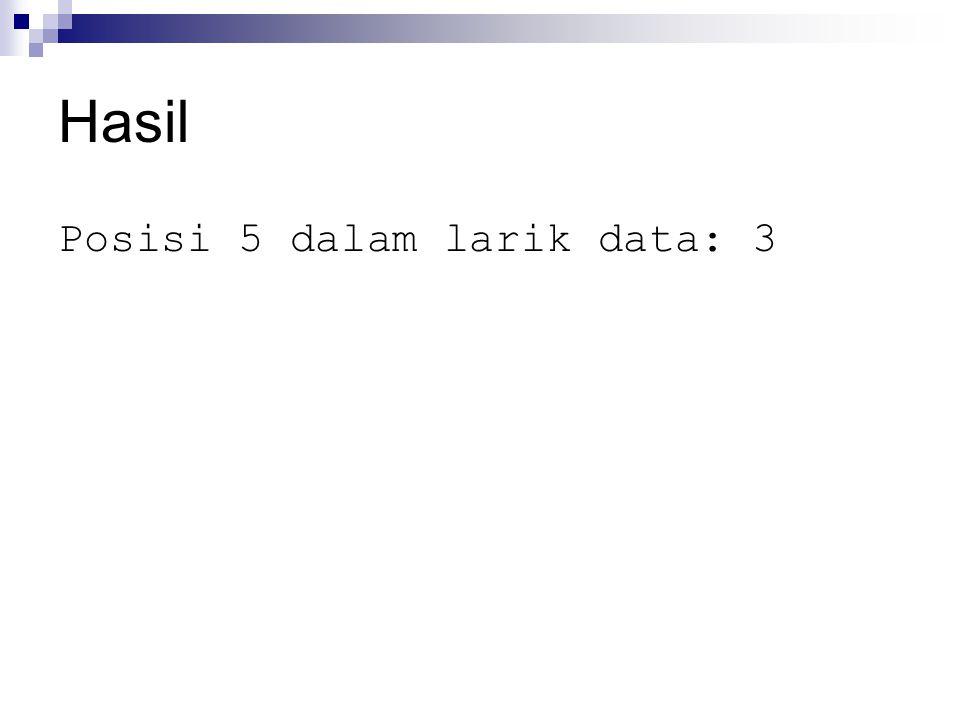 Hasil Posisi 5 dalam larik data: 3