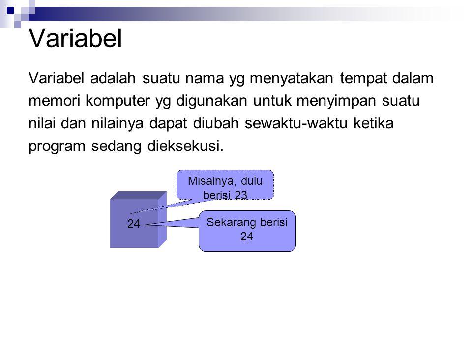 Variabel Variabel adalah suatu nama yg menyatakan tempat dalam memori komputer yg digunakan untuk menyimpan suatu nilai dan nilainya dapat diubah sewaktu-waktu ketika program sedang dieksekusi.