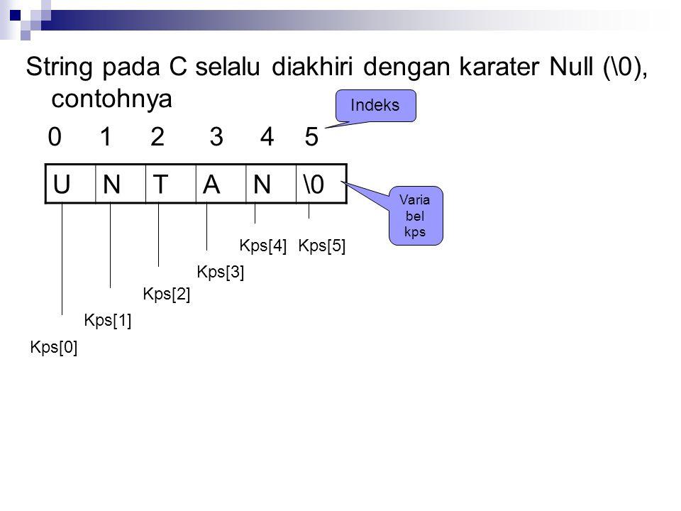 String pada C selalu diakhiri dengan karater Null (\0), contohnya 0 1 2 3 4 5 UNTAN\0 Kps[0] Kps[1] Kps[4]Kps[5] Kps[3] Kps[2] Indeks Varia bel kps