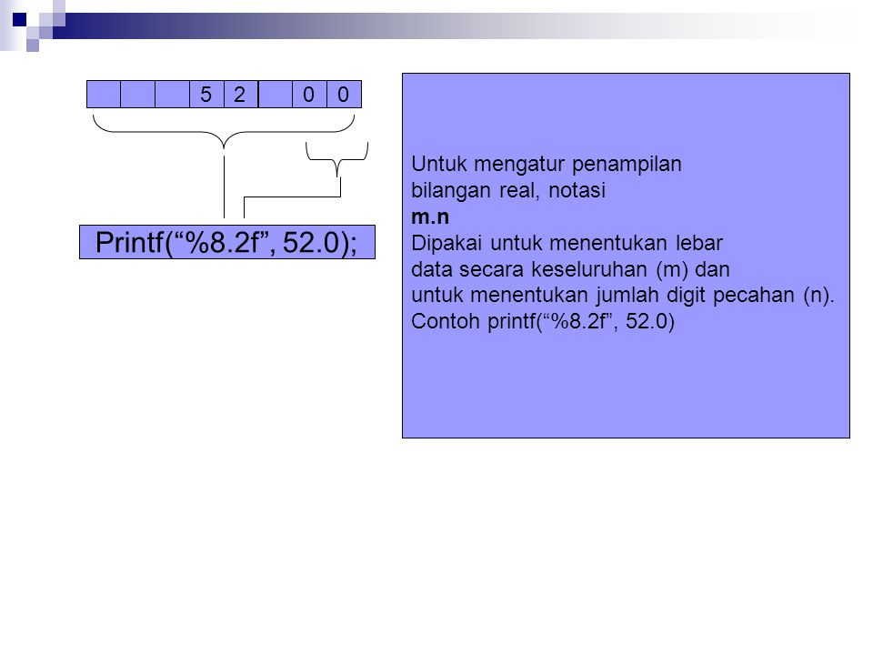 5200 Printf( %8.2f , 52.0); Untuk mengatur penampilan bilangan real, notasi m.n Dipakai untuk menentukan lebar data secara keseluruhan (m) dan untuk menentukan jumlah digit pecahan (n).
