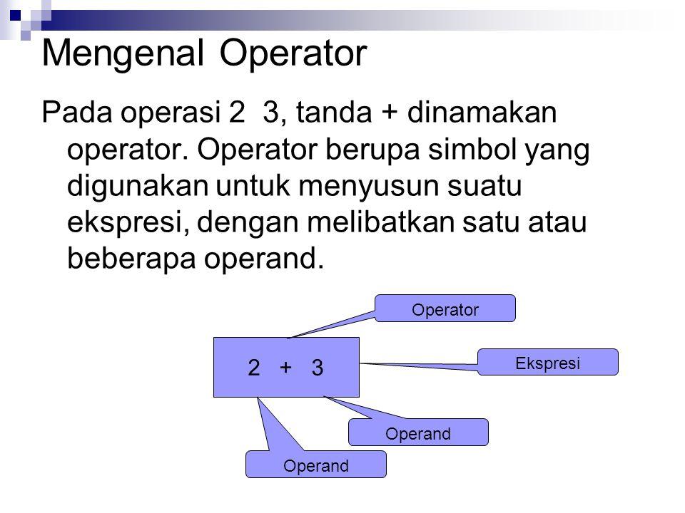 Mengenal Operator Pada operasi 2 3, tanda + dinamakan operator.