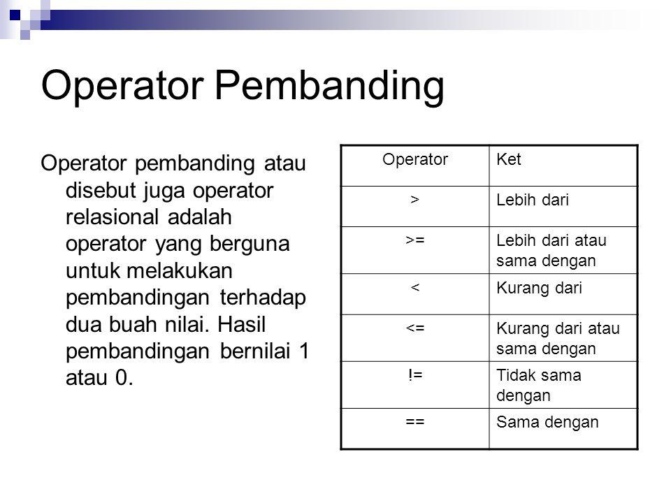 Operator Pembanding Operator pembanding atau disebut juga operator relasional adalah operator yang berguna untuk melakukan pembandingan terhadap dua buah nilai.