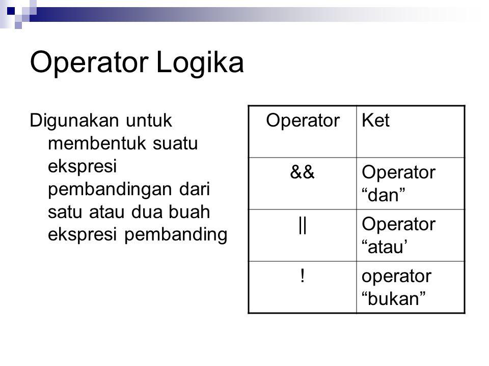 Operator Logika Digunakan untuk membentuk suatu ekspresi pembandingan dari satu atau dua buah ekspresi pembanding OperatorKet &&Operator dan ||Operator atau' !operator bukan