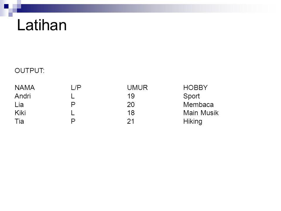 Latihan OUTPUT: NAMAL/PUMURHOBBY AndriL19Sport LiaP20Membaca KikiL18Main Musik TiaP21Hiking