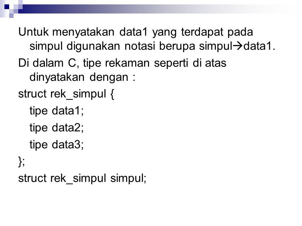 Untuk menyatakan data1 yang terdapat pada simpul digunakan notasi berupa simpul  data1.