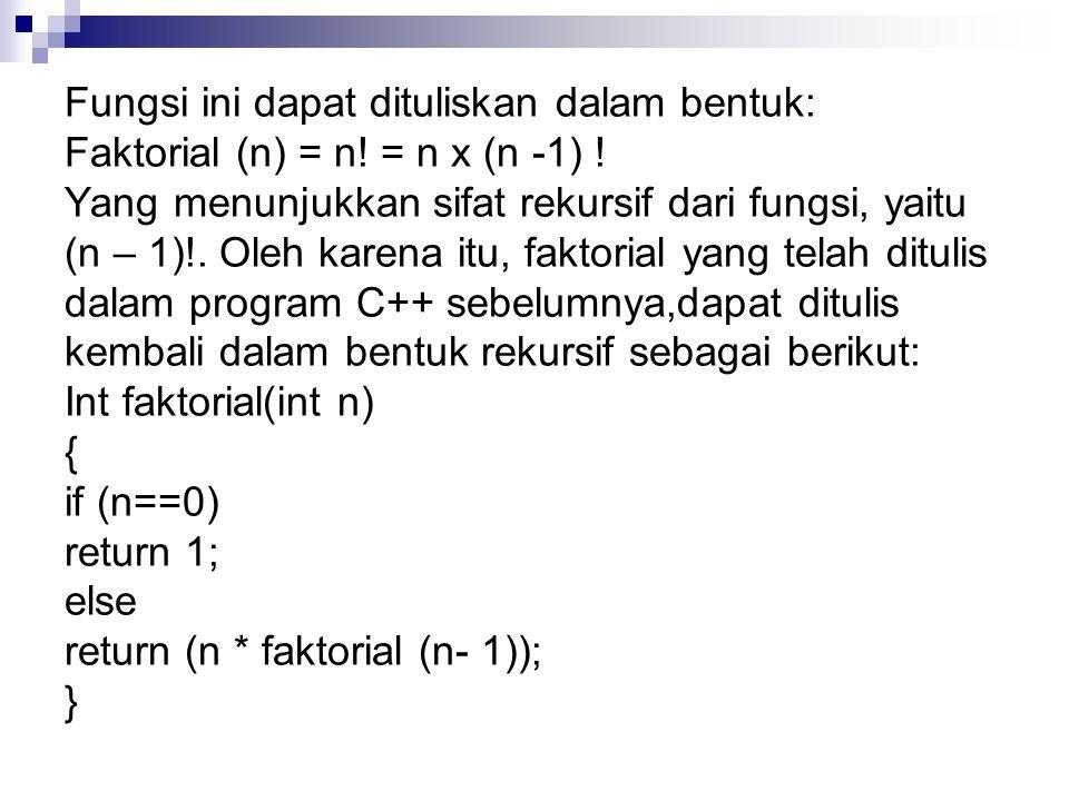 Fungsi ini dapat dituliskan dalam bentuk: Faktorial (n) = n.