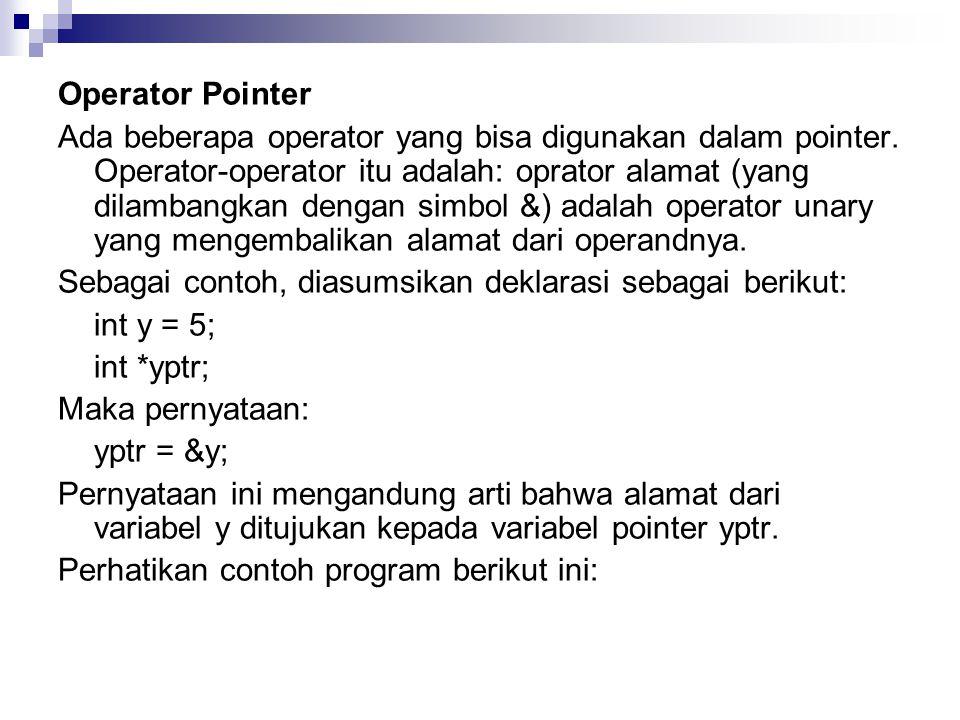Operator Pointer Ada beberapa operator yang bisa digunakan dalam pointer.