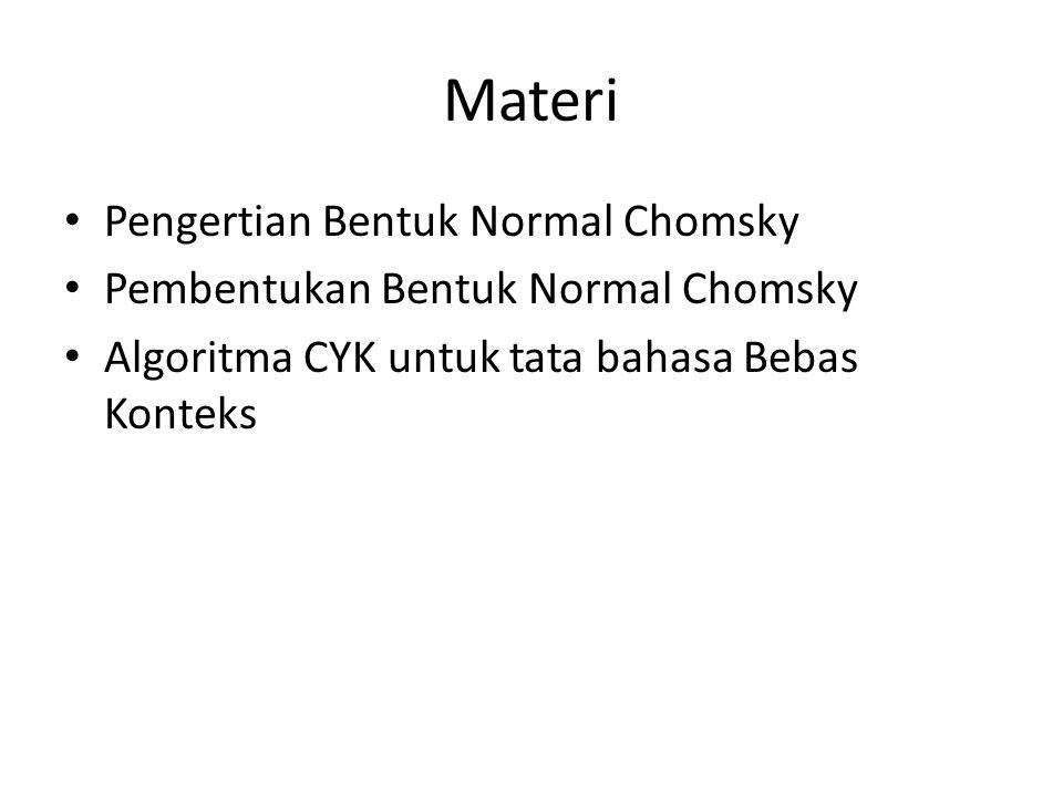 Pengertian Bentuk Normal Chomsky Bentuk Normal Chomsky (CNF) merupakan salah satu bentuk normal untuk CFG Syarat CFG yang dapat dibentuk menjadi CNF harus telah sederhana yaitu, tidak memiliki produksi empty, unit dan useless lagi.