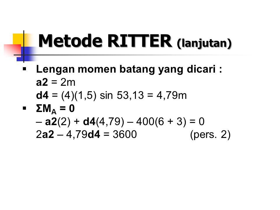 Metode RITTER (lanjutan)  Lengan momen batang yang dicari : a2 = 2m d4 = (4)(1,5) sin 53,13 = 4,79m  ΣM A = 0 – a2(2) + d4(4,79) – 400(6 + 3) = 0 2a