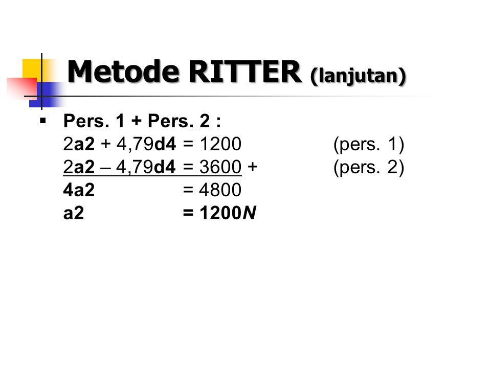 Metode RITTER (lanjutan)  Pers. 1 + Pers. 2 : 2a2 + 4,79d4 = 1200(pers. 1) 2a2 – 4,79d4 = 3600 +(pers. 2) 4a2 = 4800 a2= 1200N