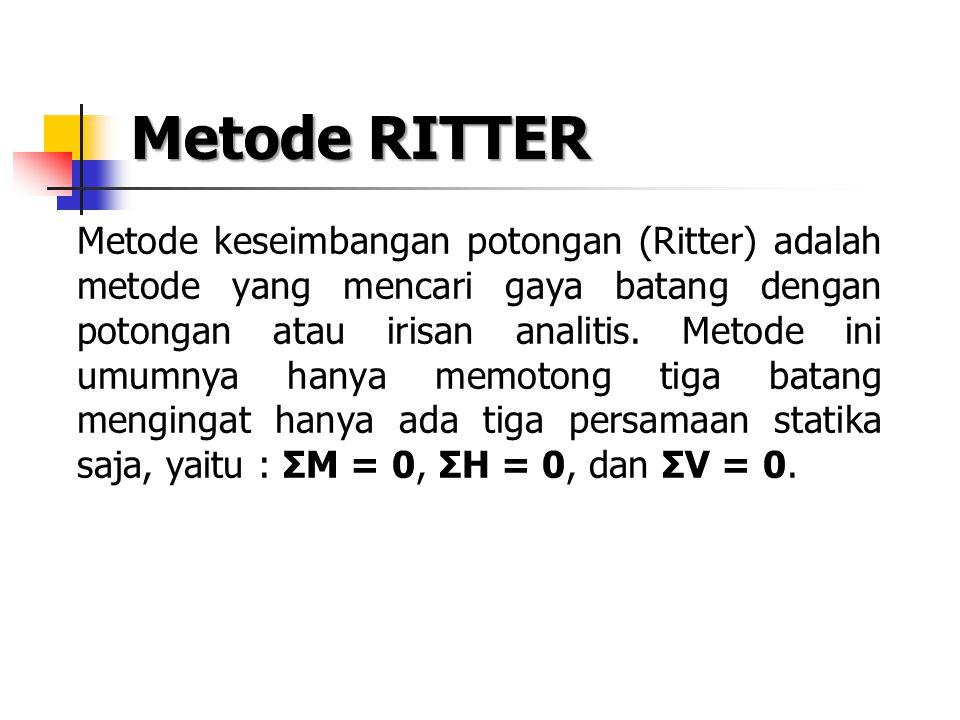 Metode RITTER Metode keseimbangan potongan (Ritter) adalah metode yang mencari gaya batang dengan potongan atau irisan analitis. Metode ini umumnya ha