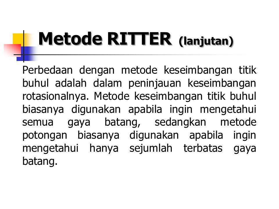 Metode RITTER (lanjutan) Perbedaan dengan metode keseimbangan titik buhul adalah dalam peninjauan keseimbangan rotasionalnya. Metode keseimbangan titi