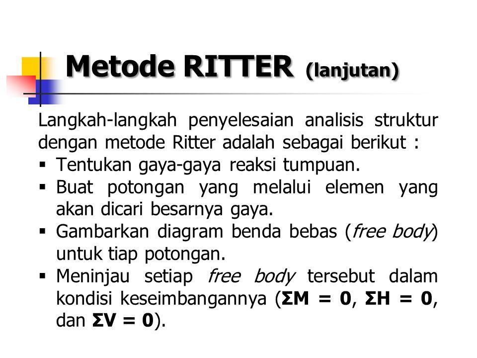 Metode RITTER (lanjutan) Langkah-langkah penyelesaian analisis struktur dengan metode Ritter adalah sebagai berikut :  Tentukan gaya-gaya reaksi tump