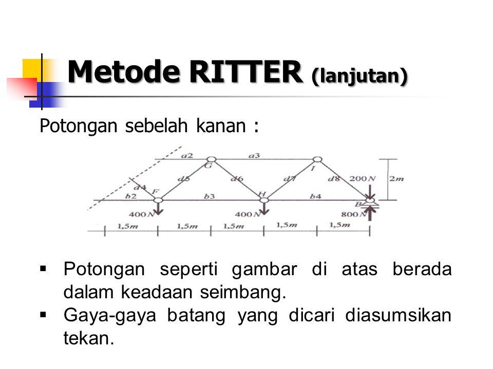 Metode RITTER (lanjutan) Potongan sebelah kanan :  Potongan seperti gambar di atas berada dalam keadaan seimbang.  Gaya-gaya batang yang dicari dias
