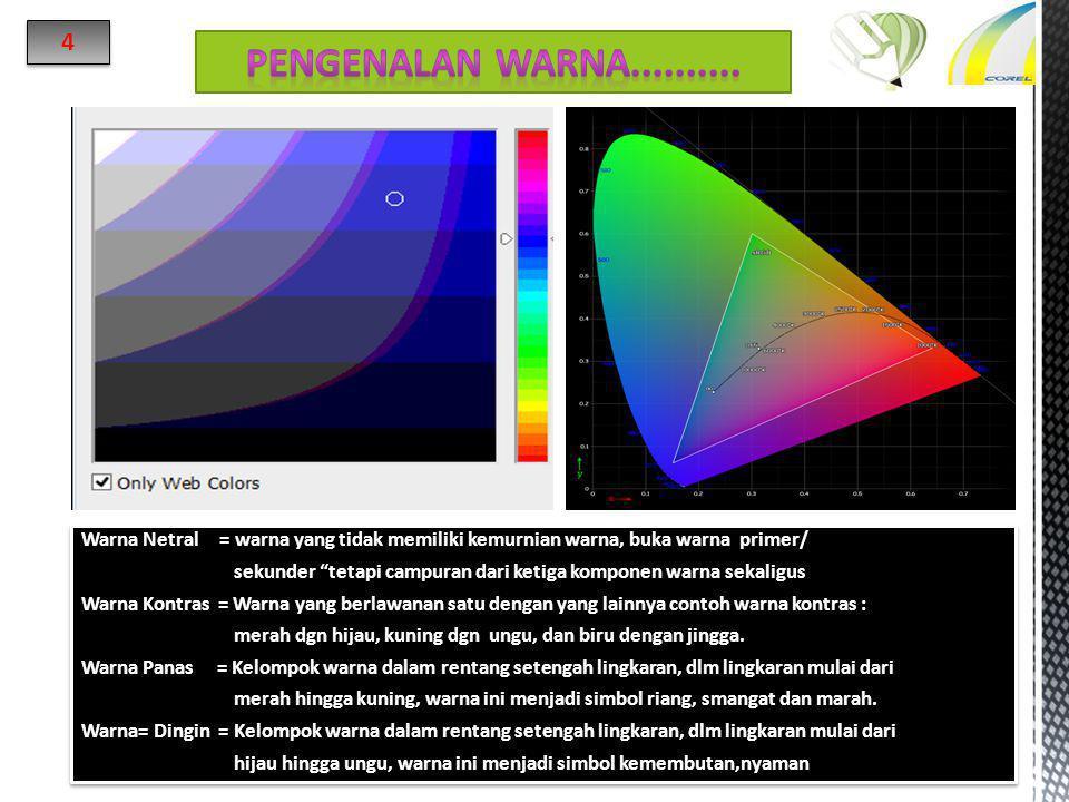 """Warna Netral = warna yang tidak memiliki kemurnian warna, buka warna primer/ sekunder """"tetapi campuran dari ketiga komponen warna sekaligus Warna Kont"""