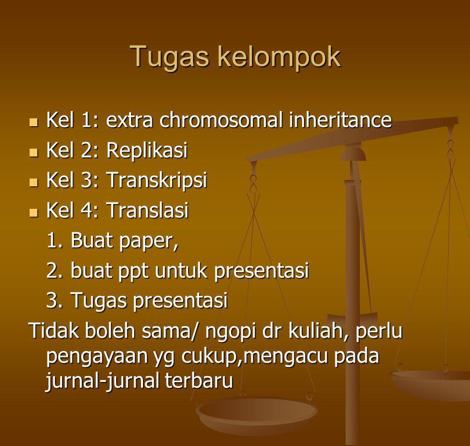 Tugas kelompok Kel 1: extra chromosomal inheritance Kel 1: extra chromosomal inheritance Kel 2: Replikasi Kel 2: Replikasi Kel 3: Transkripsi Kel 3: T