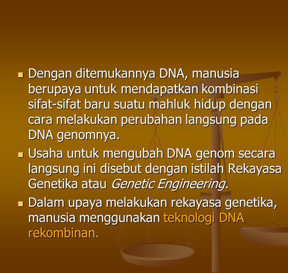 Teknologi DNA rekombinan Teknologi DNA Rekombinan merupakan kumpulan teknik atau metoda yang digunakan untuk mengkombinasikan gen-gen Teknologi DNA Rekombinan merupakan kumpulan teknik atau metoda yang digunakan untuk mengkombinasikan gen-gen Teknologi DNA rekombinan telah mungkinkan bagi kita untuk: mengisolasi DNA dari berbagai organisme, menggabungkan DNA yang berasal dari organisme yang berbeda sehingga terbentuk DNA rekombinan, memasukkan DNA rekombinan ke dalam sel organisme prokariot maupun eukariot hingga DNA rekombinan dapat berepilkasi dan bahkan dapat diekspresikan.