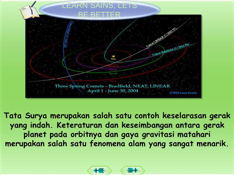  Tata Surya merupakan suatu sistem organisasi yang teratur dengan Matahari sebagai pusat peredaran.