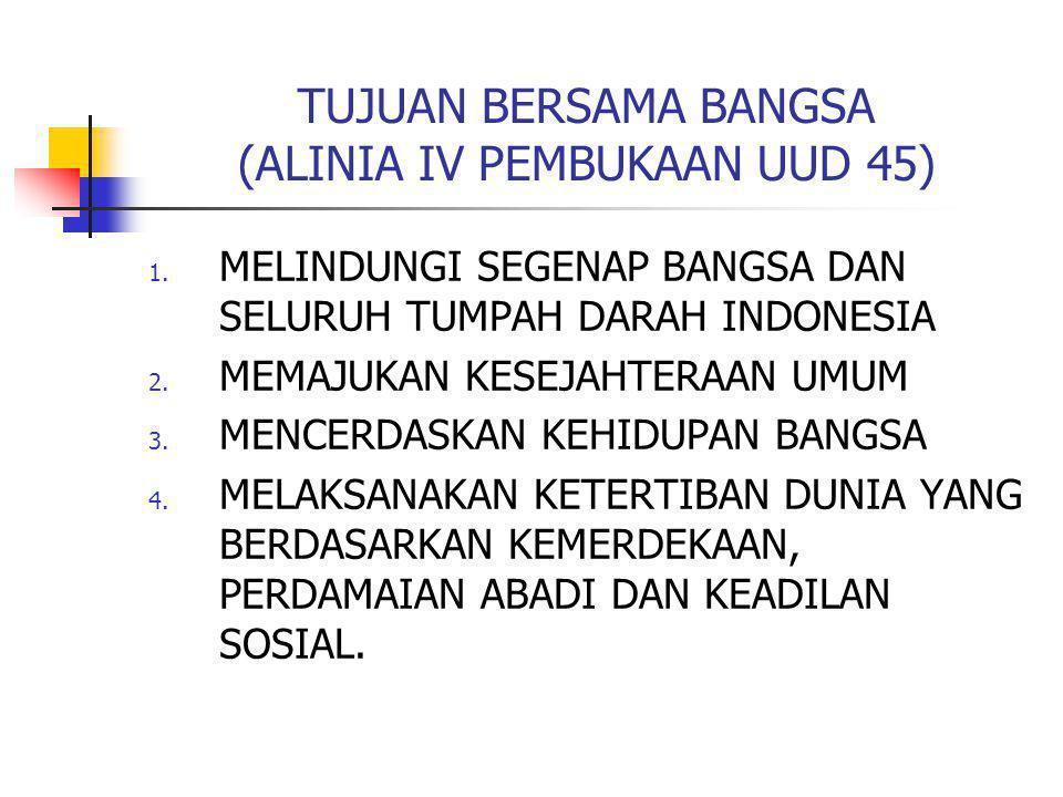 TUJUAN BERSAMA BANGSA (ALINIA IV PEMBUKAAN UUD 45) 1. MELINDUNGI SEGENAP BANGSA DAN SELURUH TUMPAH DARAH INDONESIA 2. MEMAJUKAN KESEJAHTERAAN UMUM 3.
