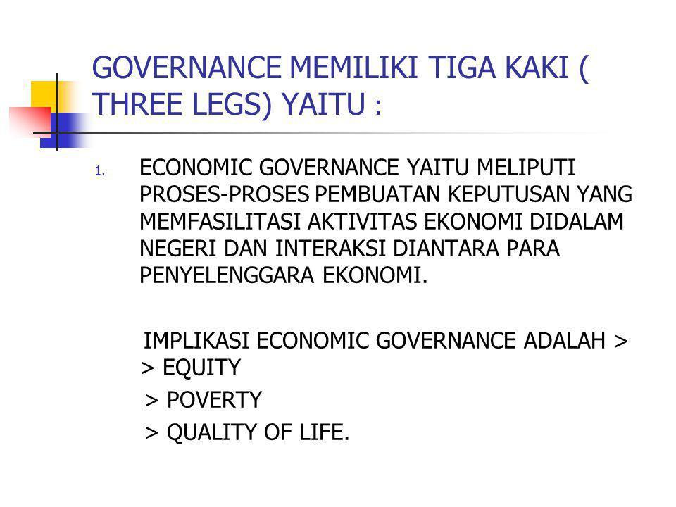 GOVERNANCE MEMILIKI TIGA KAKI ( THREE LEGS) YAITU : 1. ECONOMIC GOVERNANCE YAITU MELIPUTI PROSES-PROSES PEMBUATAN KEPUTUSAN YANG MEMFASILITASI AKTIVIT