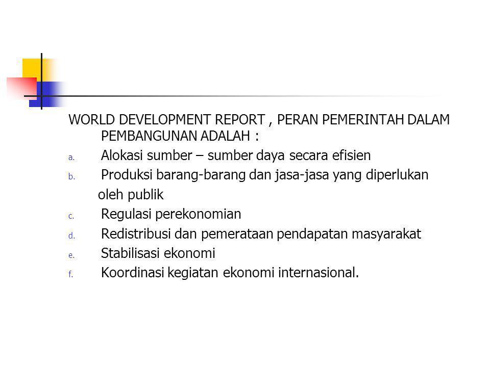 WORLD DEVELOPMENT REPORT, PERAN PEMERINTAH DALAM PEMBANGUNAN ADALAH : a. Alokasi sumber – sumber daya secara efisien b. Produksi barang-barang dan jas