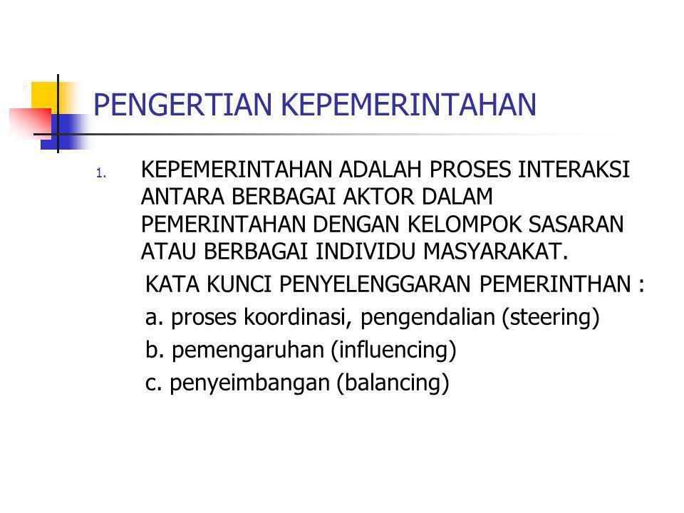 PENGERTIAN KEPEMERINTAHAN 1.
