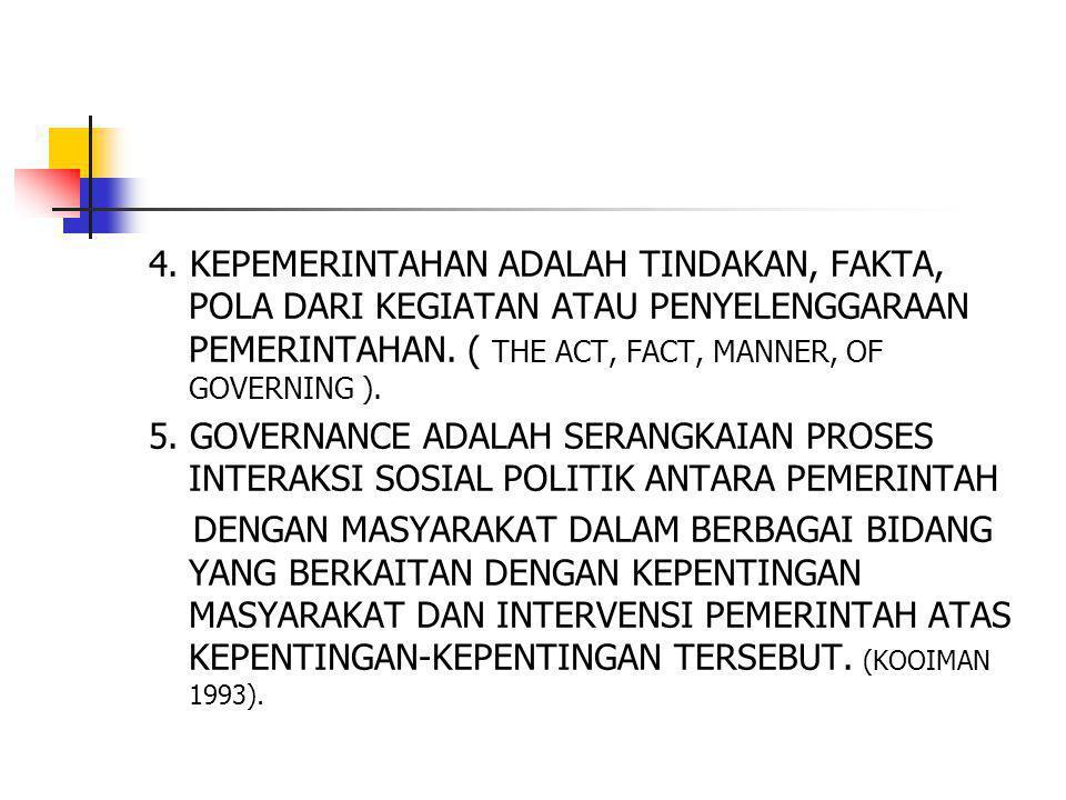 4. KEPEMERINTAHAN ADALAH TINDAKAN, FAKTA, POLA DARI KEGIATAN ATAU PENYELENGGARAAN PEMERINTAHAN. ( THE ACT, FACT, MANNER, OF GOVERNING ). 5. GOVERNANCE