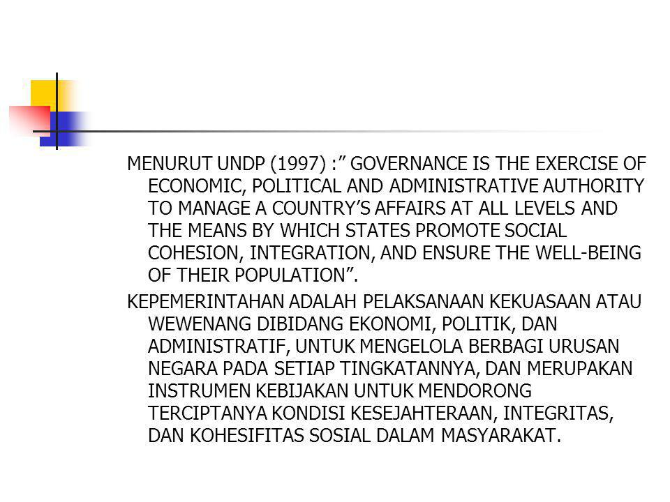MENURUT UNDP (1997) : GOVERNANCE IS THE EXERCISE OF ECONOMIC, POLITICAL AND ADMINISTRATIVE AUTHORITY TO MANAGE A COUNTRY'S AFFAIRS AT ALL LEVELS AND THE MEANS BY WHICH STATES PROMOTE SOCIAL COHESION, INTEGRATION, AND ENSURE THE WELL-BEING OF THEIR POPULATION .