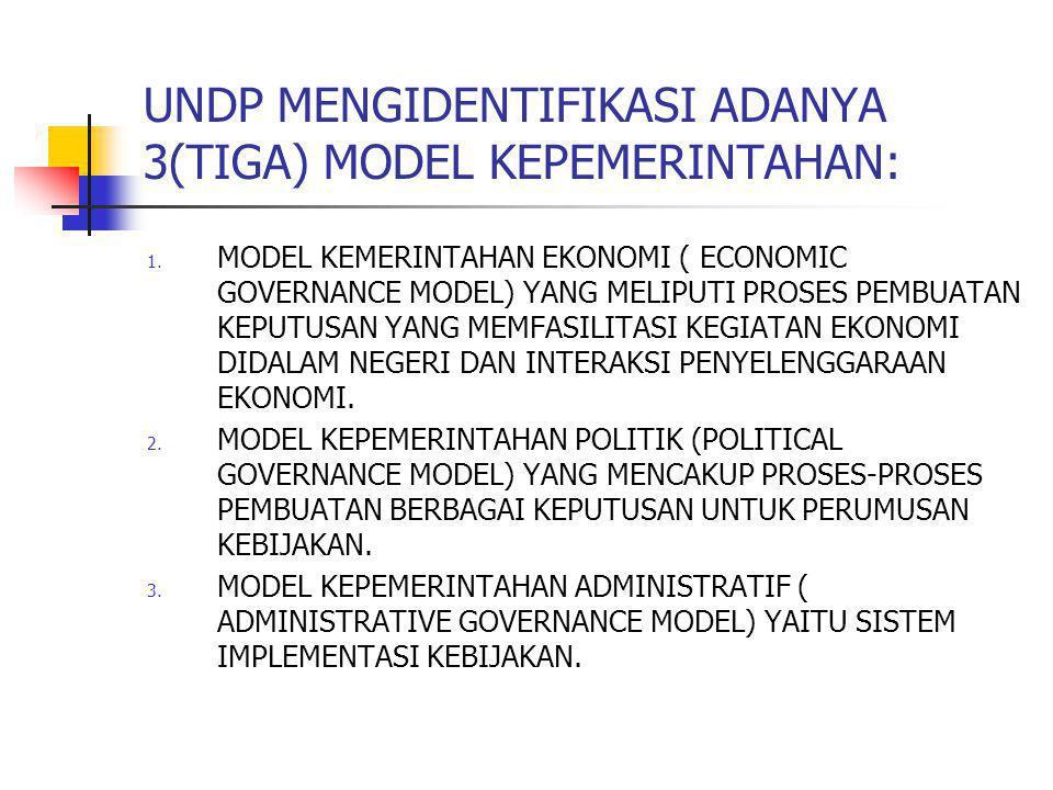 UNDP MENGIDENTIFIKASI ADANYA 3(TIGA) MODEL KEPEMERINTAHAN: 1. MODEL KEMERINTAHAN EKONOMI ( ECONOMIC GOVERNANCE MODEL) YANG MELIPUTI PROSES PEMBUATAN K