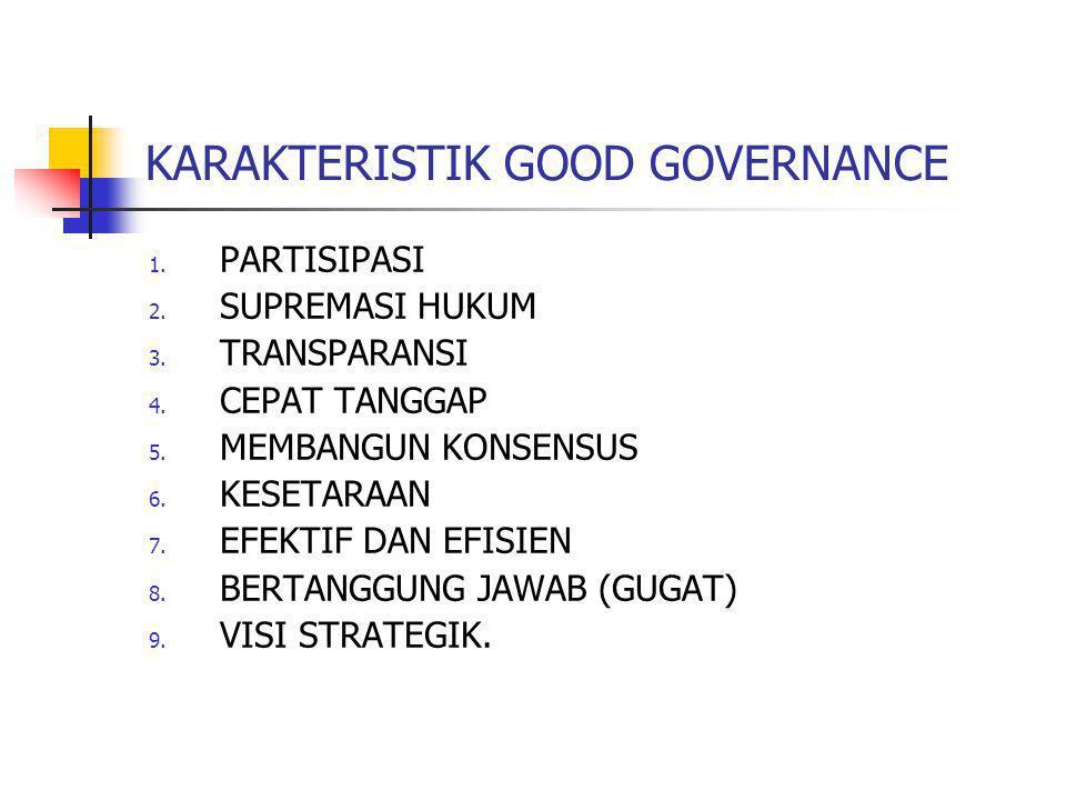 KARAKTERISTIK GOOD GOVERNANCE 1. PARTISIPASI 2. SUPREMASI HUKUM 3. TRANSPARANSI 4. CEPAT TANGGAP 5. MEMBANGUN KONSENSUS 6. KESETARAAN 7. EFEKTIF DAN E