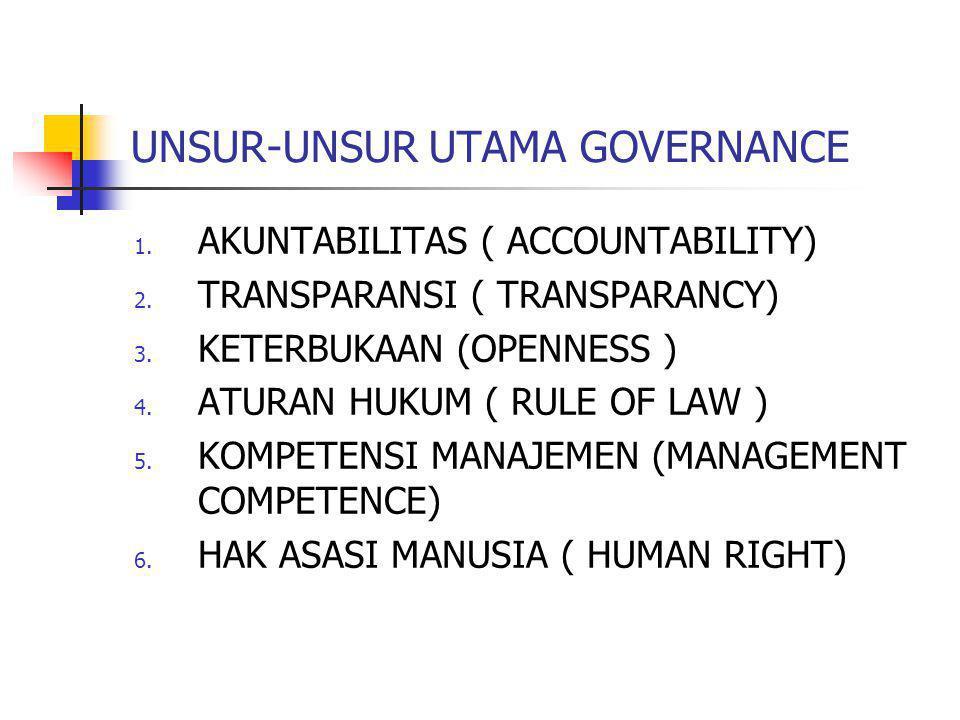 UNSUR-UNSUR UTAMA GOVERNANCE 1. AKUNTABILITAS ( ACCOUNTABILITY) 2. TRANSPARANSI ( TRANSPARANCY) 3. KETERBUKAAN (OPENNESS ) 4. ATURAN HUKUM ( RULE OF L