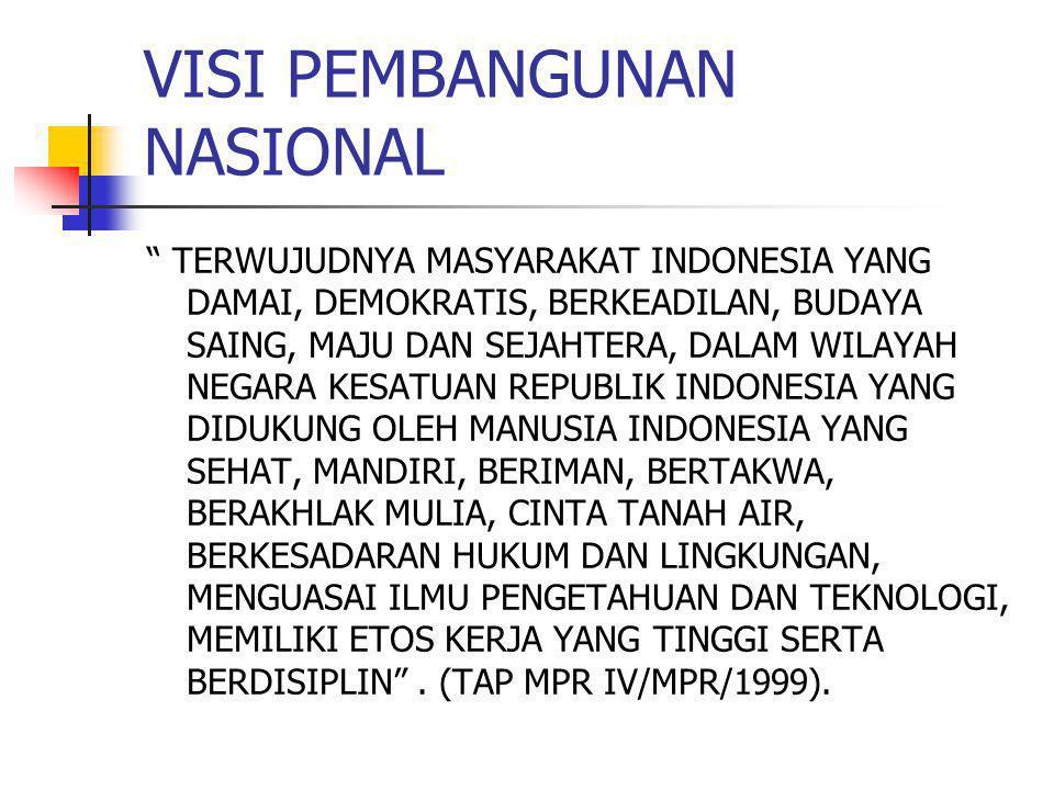 VISI PEMBANGUNAN NASIONAL TERWUJUDNYA MASYARAKAT INDONESIA YANG DAMAI, DEMOKRATIS, BERKEADILAN, BUDAYA SAING, MAJU DAN SEJAHTERA, DALAM WILAYAH NEGARA KESATUAN REPUBLIK INDONESIA YANG DIDUKUNG OLEH MANUSIA INDONESIA YANG SEHAT, MANDIRI, BERIMAN, BERTAKWA, BERAKHLAK MULIA, CINTA TANAH AIR, BERKESADARAN HUKUM DAN LINGKUNGAN, MENGUASAI ILMU PENGETAHUAN DAN TEKNOLOGI, MEMILIKI ETOS KERJA YANG TINGGI SERTA BERDISIPLIN .