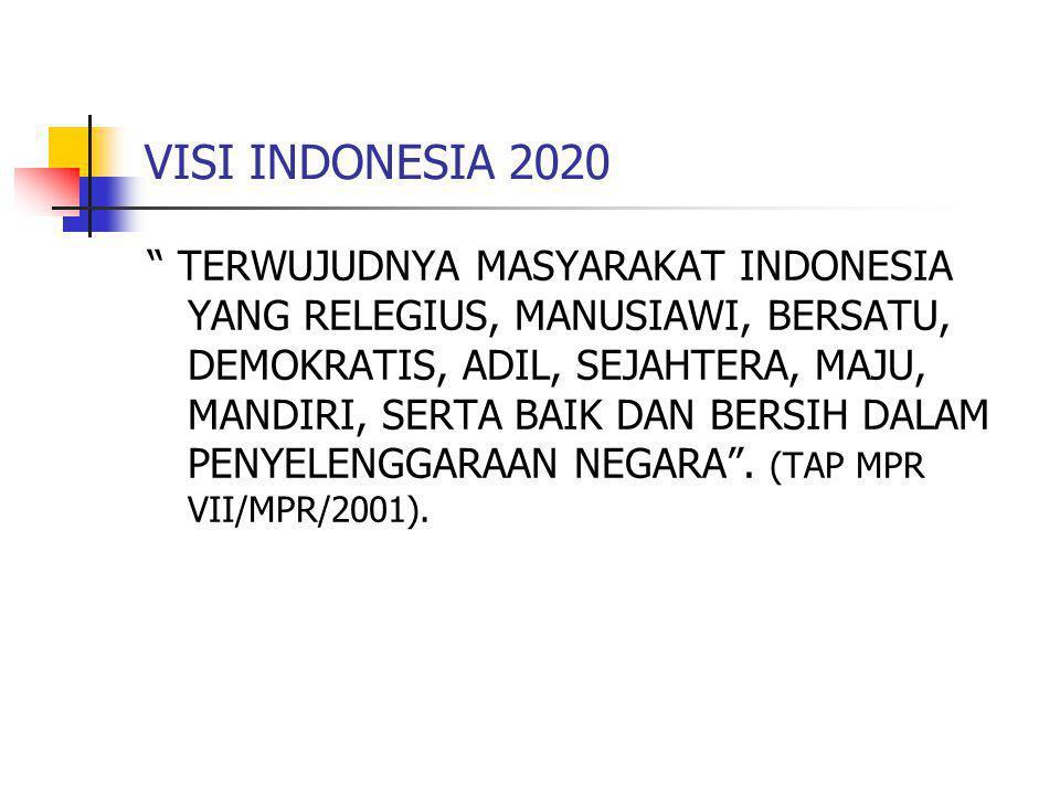 VISI INDONESIA 2020 TERWUJUDNYA MASYARAKAT INDONESIA YANG RELEGIUS, MANUSIAWI, BERSATU, DEMOKRATIS, ADIL, SEJAHTERA, MAJU, MANDIRI, SERTA BAIK DAN BERSIH DALAM PENYELENGGARAAN NEGARA .