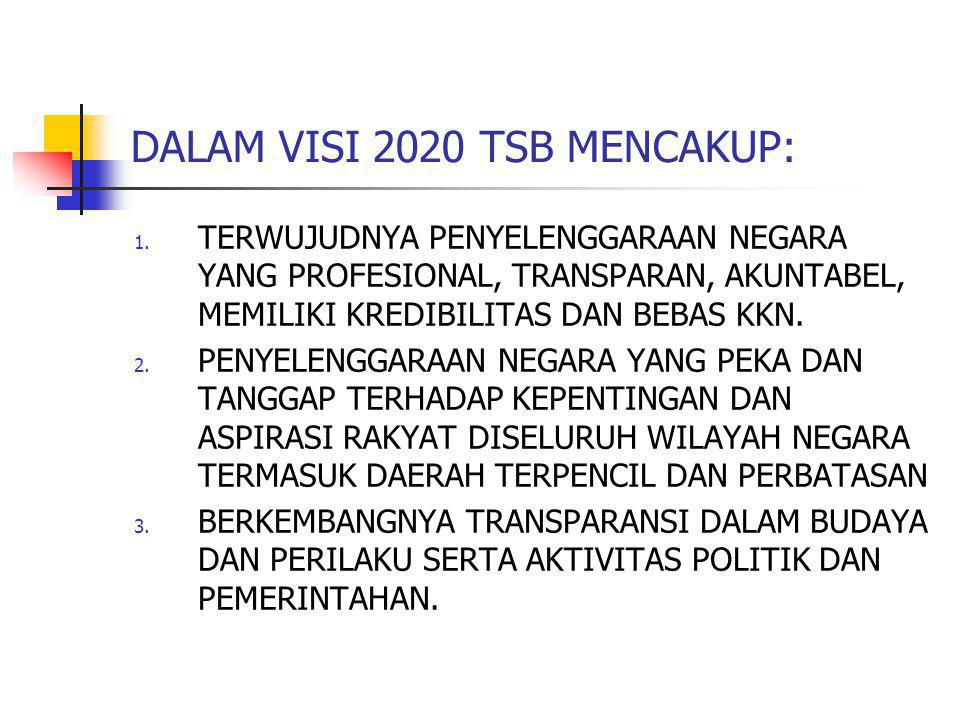 DALAM VISI 2020 TSB MENCAKUP: 1. TERWUJUDNYA PENYELENGGARAAN NEGARA YANG PROFESIONAL, TRANSPARAN, AKUNTABEL, MEMILIKI KREDIBILITAS DAN BEBAS KKN. 2. P