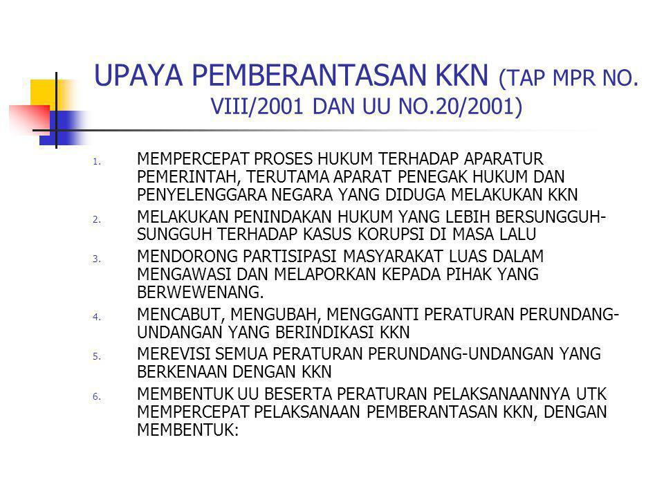UPAYA PEMBERANTASAN KKN (TAP MPR NO. VIII/2001 DAN UU NO.20/2001) 1. MEMPERCEPAT PROSES HUKUM TERHADAP APARATUR PEMERINTAH, TERUTAMA APARAT PENEGAK HU