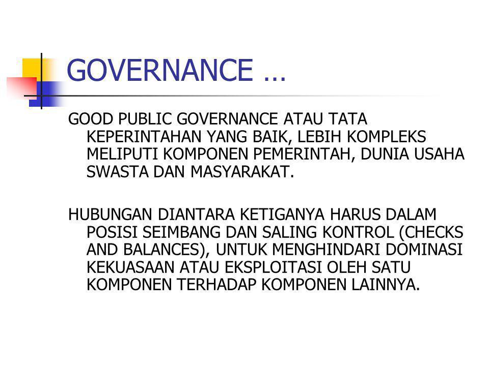 GOVERNANCE … GOOD PUBLIC GOVERNANCE ATAU TATA KEPERINTAHAN YANG BAIK, LEBIH KOMPLEKS MELIPUTI KOMPONEN PEMERINTAH, DUNIA USAHA SWASTA DAN MASYARAKAT.