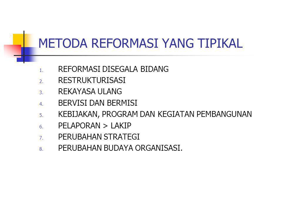 METODA REFORMASI YANG TIPIKAL 1. REFORMASI DISEGALA BIDANG 2. RESTRUKTURISASI 3. REKAYASA ULANG 4. BERVISI DAN BERMISI 5. KEBIJAKAN, PROGRAM DAN KEGIA