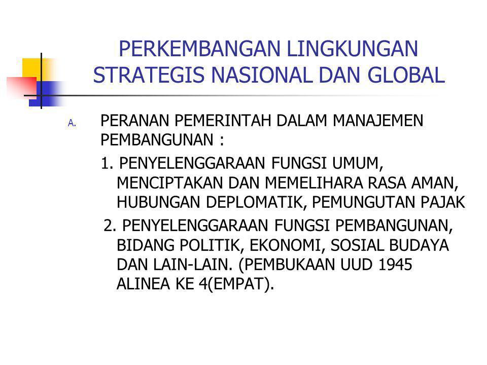 PERKEMBANGAN LINGKUNGAN STRATEGIS NASIONAL DAN GLOBAL A. PERANAN PEMERINTAH DALAM MANAJEMEN PEMBANGUNAN : 1. PENYELENGGARAAN FUNGSI UMUM, MENCIPTAKAN